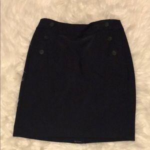 Navy buttoned petite Loft skirt